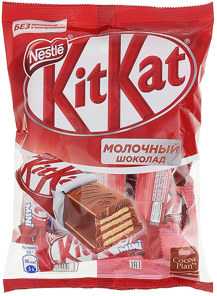 KitKat Mini молочный шоколад с хрустящей вафлей, 202 г12145058Мини формат батончика KitKat с хрустящей вафлей в молочном шоколаде. Удобный формат к чаю, чтобы взять с собой в дорогу. Шоколад в умеренном количестве может быть частью сбалансированного рациона.Уважаемые клиенты! Обращаем ваше внимание на то, что упаковка может иметь несколько видов дизайна. Поставка осуществляется в зависимости от наличия на складе.