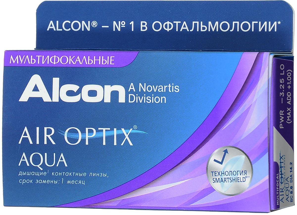 Alcon-CIBA Vision контактные линзы Air Optix Aqua Multifocal (3шт / 8.6 / 14.2 / -3.25 / Low)39482Контактные линзы Air Optix Aqua Multifocal предназначены для коррекции возрастной дальнозоркости. Если для работы вблизи или просто для чтения вам необходимо использовать очки, то эти линзы помогут вам избавиться от них. В линзах Air Optix Aqua Multifocal вы будете одинаково четко видеть как предметы, расположенные вблизи, так и удаленные предметы. Линзы изготовлены из силикон-гидрогелевого материала лотрафилкон Б, который пропускает в 5 раз больше кислорода по сравнению с обычными гидрогелевыми линзами. Они настолько комфортны и безопасны в ношении, что вы можете не снимать их до 6 суток. Но даже если вы не собираетесь окончательно сменить очки на линзы, мы рекомендуем вам иметь хотя бы одну пару таких линз для экстремальных ситуаций, например для занятий спортом. Контактные линзы Air Optix Aqua Multifocal имеют три степени аддидации: Low (низкую) до +1.00; Medium (среднюю) от +1.25 до +2.00 и High (высокую) свыше +2.00. Характеристики:Материал: лотрафилкон Б. Кривизна: 8.6. Оптическая сила: - 3.25. Содержание воды: 33%. Диаметр: 14,2 мм. Cтепень аддидации: Low (низкая). Количество линз: 3 шт. Размер упаковки: 9 см х 5 см х 1 см. Производитель: Малайзия. Товар сертифицирован.Контактные линзы или очки: советы офтальмологов. Статья OZON Гид