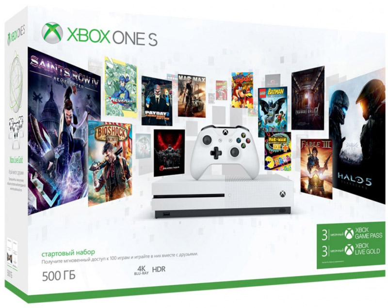 Игровая приставка Xbox One S 500 ГБ + игровой абонемент на 3 месяца + Xbox LIVE: карта подписки 3 месяца - Игровые консоли
