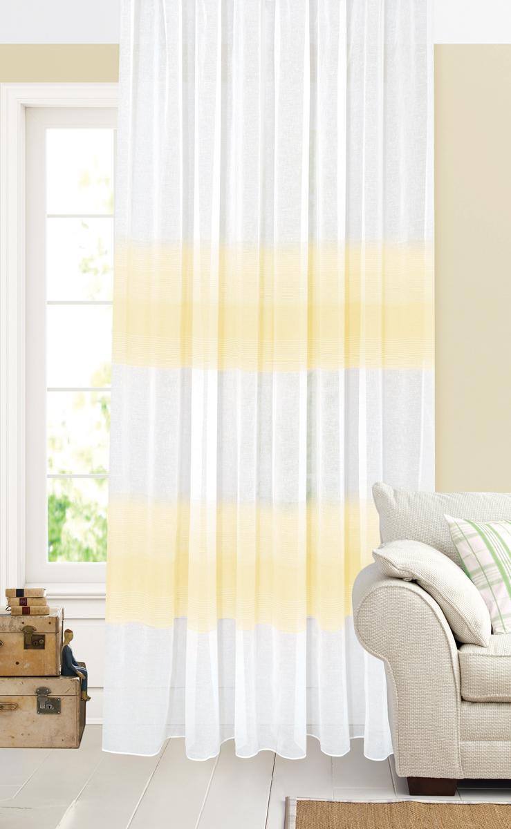 Штора Garden, на ленте, цвет: белый, светло-бежевый, высота 260 см. С 2402-W628 V1С 2402 - W628 V1Тюлевая штора Garden - выполнена из батиста белого цвета, рисунок светло-бежевые полосы.Полупрозрачная ткань, хорошо подойдет для солнечной комнаты. Приятная текстура и цвет штор привлекут к себе внимание и органично впишутся в интерьерпомещения. Штора крепится на карниз при помощи ленты, которая поможет красиво и равномернозадрапировать верх.