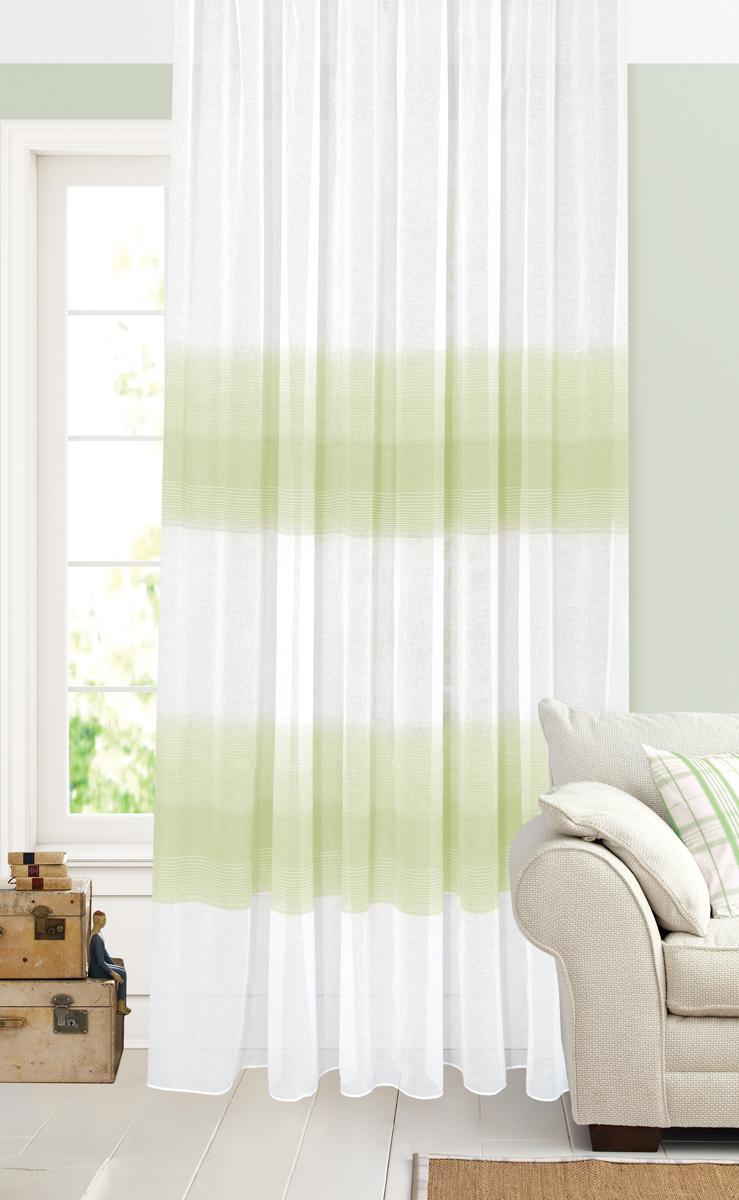 Штора Garden, на ленте, цвет: белый, салатовый, высота 260 см. С 2402-W628 V4С 2402 - W628 V4Тюлевая штора Garden выполнена из батиста белого цвета, с рисунком бежево-зеленых полос.Полупрозрачная ткань, хорошо подойдет для солнечной комнаты. Приятная текстура и цвет штор привлекут к себе внимание и органично впишутся в интерьерпомещения. Штора крепится на карниз при помощи ленты, которая поможет красиво и равномернозадрапировать верх.