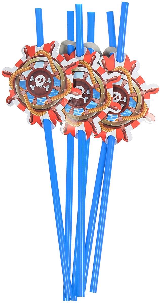 Пати Бум Набор трубочек Веселый Пират цвет синий 6 шт набор трубочек для коктейлей кристалл с изгибом 250 шт