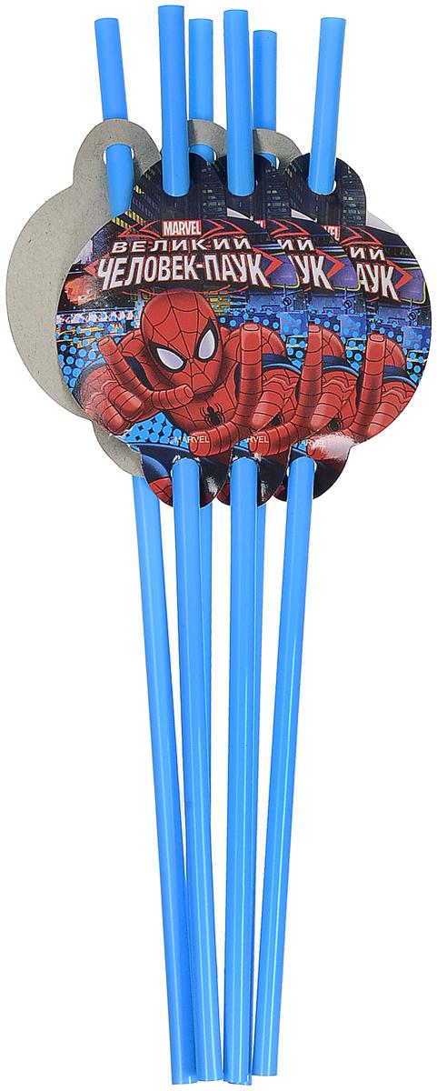 Пати Бум Набор трубочек Человек-Паук цвет голубой 6 шт пати бум набор трубочек веселый пират цвет синий 6 шт