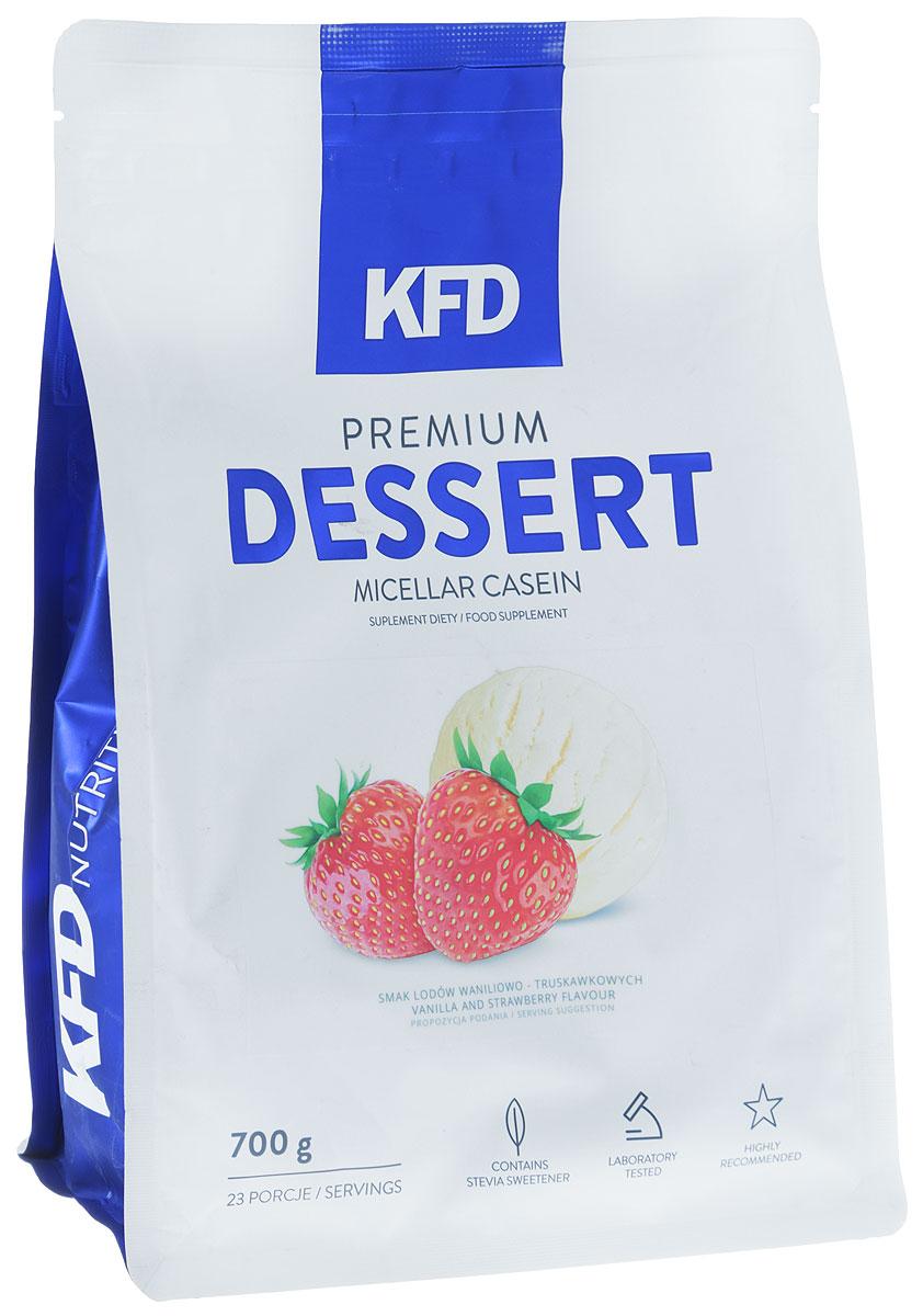 Гейнер KFD Dessert, клубника и ваниль, 700 г5901947660263KFD Premium Dessert Micellar Casein - это высококачественный, 100% чистый мицеллярный казеин. Отличный вкус этого продукта, сливочная консистенция и небольшое количество жира и сахара идеально подходит для создания очень сытного десерта или пищи с высоким содержанием белка. Как и во всех продуктах KFD в нём нет красителей, консервантов или низкокачественных примесей растительных белков.Условия хранения: Лучше пересыпать порошок в герметичную баночку и положить ее в сухое и вентилируемое место, недоступное животным и детям. При этом в комнате должна быть нормальная комнатная температура. Не рекомендуется употреблять: подросткам младше 14 лет; беременным и кормящим; страдающим заболеваниями печени и почек; при общей непереносимости лактозы и коровьего молока. Стоит учитывать, что в спортивном питании содержатся подсластители.Способ применения: Одну порцию смешать с 200-250 мл молока или воды. Употреблять сразу после приготовления согласно индивидуальным нормам, но не более двух раз в день.Как повысить эффективность тренировок с помощью спортивного питания? Статья OZON Гид
