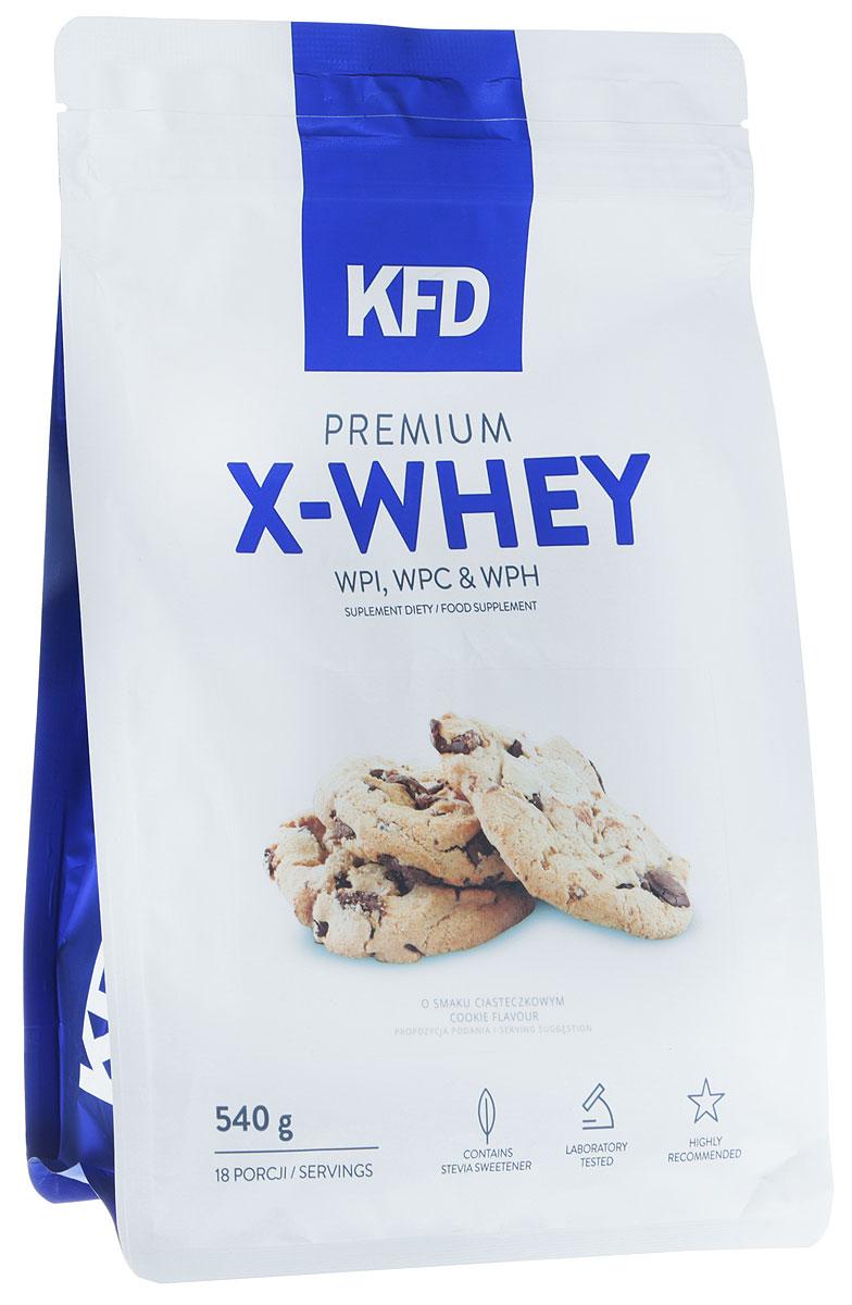 Протеин KFD Premium X-Whey, печенье, 540 г5901947663448KFD Premium X-Whey - качественный продукт, в основе которого лежат три типа известных сывороточных белков. Это изолят белка WPI, концентрат белка WPC и гидролизат белка WPH. Всего в смеси около 85% этого вещества.Комплекс включает в себя: 90 WPI (изолят сывороточного белка) WPC 80 (концентрат сывороточного белка) и WPH (гидролизат сывороточного белка). Все они отлично смешиваются без пенообразования на поверхности шейкера.Процентное распределение фракций: 90 WPI (изолят белка молочной сыворотки) - 65% WPC 80 (концентрат сывороточного белка), - 25% WPH (сывороточный белковый гидролизат) - 10%Основные преимущества:- приятный привкус;- хорошая растворимость;- без образования пенки;- отсутствие красителей и консервантов.Даже самые придирчивые гурманы смогут по достоинству оценить прекрасный вкус протеина из серии KFD.Условия хранения:Лучше пересыпать порошок в герметичную баночку и положить ее в сухое и вентилируемое место, недоступное животным и детям. При этом в комнате должна быть нормальная комнатная температура. Не рекомендуется употреблять:подросткам младше 14 лет; беременным и кормящим; страдающим заболеваниями печени и почек; при общей непереносимости лактозы и коровьего молока. Стоит учитывать, что в спортивном питании содержатся подсластители.Другие ингредиенты: Изолят сывороточного белка, концентрат сывороточного белка, гидролизат сывороточного белка, какао, ароматизатор, регулятор кислотности: лимонная кислота, соль, подсластители: сукралоза, стевиол-гликозиды.Способ применения: Одну порцию смешать с 200-250 мл молока или воды. Употреблять сразу после приготовления согласно индивидуальным нормам, но не более двух раз в день.Как повысить эффективность тренировок с помощью спортивного питания? Статья OZON Гид