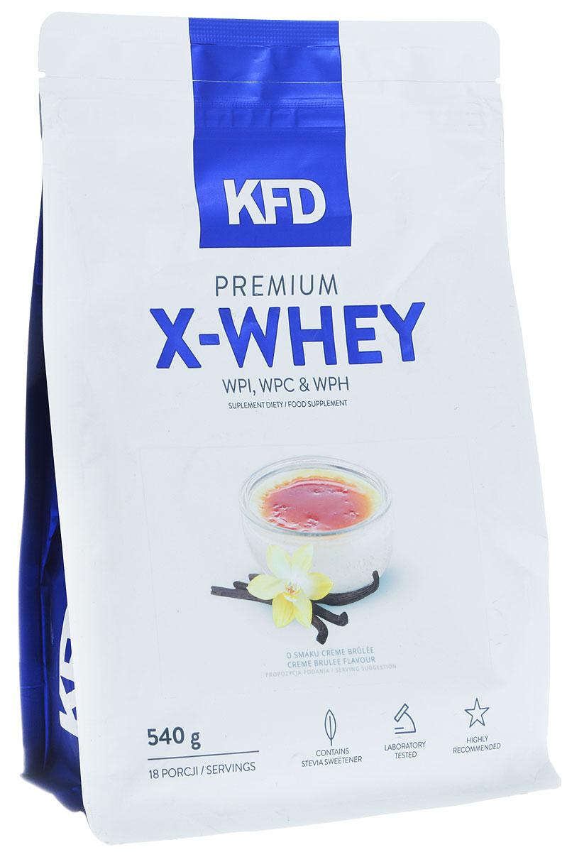 Протеин KFD Premium X-Whey, крем-брюле, 540 г5901947663455KFD Premium X-Whey - качественный продукт, в основе которого лежат три типа известных сывороточных белков. Это изолят белка WPI, концентрат белка WPC и гидролизат белка WPH. Всего в смеси около 85% этого вещества.Комплекс включает в себя: 90 WPI (изолят сывороточного белка) WPC 80 (концентрат сывороточного белка) и WPH (гидролизат сывороточного белка). Все они отлично смешиваются без пенообразования на поверхности шейкера.Процентное распределение фракций: 90 WPI (изолят белка молочной сыворотки) - 65% WPC 80 (концентрат сывороточного белка), - 25% WPH (сывороточный белковый гидролизат) - 10%Основные преимущества:- приятный привкус;- хорошая растворимость;- без образования пенки;- отсутствие красителей и консервантов.Даже самые придирчивые гурманы смогут по достоинству оценить прекрасный вкус протеина из серии KFD.Условия хранения:Лучше пересыпать порошок в герметичную баночку и положить ее в сухое и вентилируемое место, недоступное животным и детям. При этом в комнате должна быть нормальная комнатная температура. Не рекомендуется употреблять:подросткам младше 14 лет; беременным и кормящим; страдающим заболеваниями печени и почек; при общей непереносимости лактозы и коровьего молока. Стоит учитывать, что в спортивном питании содержатся подсластители.Другие ингредиенты: Изолят сывороточного белка, концентрат сывороточного белка, гидролизат сывороточного белка, какао, ароматизатор, регулятор кислотности: лимонная кислота, соль, подсластители: сукралоза, стевиол-гликозиды.Способ применения: Одну порцию смешать с 200-250 мл молока или воды. Употреблять сразу после приготовления согласно индивидуальным нормам, но не более двух раз в день.Как повысить эффективность тренировок с помощью спортивного питания? Статья OZON Гид