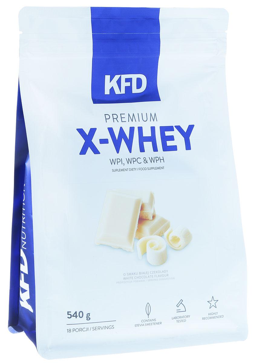 Протеин KFD Premium X-Whey, белый шоколад, 540 г5901947664162KFD Premium X-Whey – качественный продукт, в основе которого лежат три типа известных сывороточных белков. Это изолят белка WPI, концентрат белка WPC и гидролизат белка WPH. Всего в смеси около 85% этого вещества.Комплекс включает в себя: 90 WPI (изолят сывороточного белка) WPC 80 (концентрат сывороточного белка) и WPH (гидролизат сывороточного белка). Все они отлично смешиваются без пенообразования на поверхности шейкера.Процентное распределение фракций: 90 WPI (изолят белка молочной сыворотки) - 65% WPC 80 (концентрат сывороточного белка), - 25% WPH (сывороточный белковый гидролизат) - 10%Основные преимущества:- приятный привкус;- хорошая растворимость;- без образования пенки;- отсутствие красителей и консервантов.Даже самые придирчивые гурманы смогут по достоинству оценить прекрасный вкус протеина из серии KFD.Условия хранения:Лучше пересыпать порошок в герметичную баночку и положить ее в сухое и вентилируемое место, недоступное животным и детям. При этом в комнате должна быть нормальная комнатная температура. Не рекомендуется употреблять:подросткам младше 14 лет; беременным и кормящим; страдающим заболеваниями печени и почек; при общей непереносимости лактозы и коровьего молока. Стоит учитывать, что в спортивном питании содержатся подсластители.Другие ингредиенты: Изолят сывороточного белка, концентрат сывороточного белка, гидролизат сывороточного белка, какао, ароматизатор, регулятор кислотности: лимонная кислота, соль, подсластители: сукралоза, стевиол-гликозиды.Способ применения: Одну порцию смешать с 200-250 мл молока или воды. Употреблять сразу после приготовления согласно индивидуальным нормам, но не более двух раз в день.Как повысить эффективность тренировок с помощью спортивного питания? Статья OZON Гид