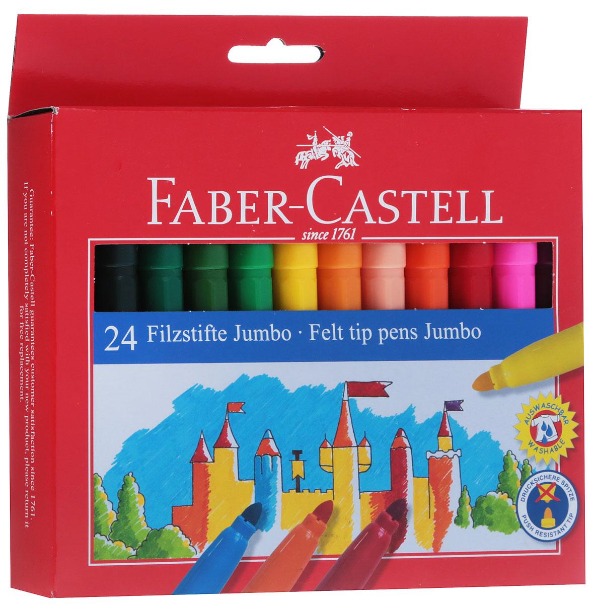 Фломастеры Faber-Castell Jumbo помогут маленькому художнику раскрыть свой творческий потенциал, рисовать и раскрашивать яркие картинки, развивая воображение, мелкую моторику и цветовосприятие. В наборе Faber-Castell Jumbo 12 разноцветных фломастеров. Корпусы выполнены из пластика. Чернила на водной основе окрашены с использованием пищевых красителей, благодаря чему они полностью безопасны для ребенка и имеют яркие, насыщенные цвета. Если маленький художник запачкался - не беда, ведь фломастеры отстирываются с большинства тканей. Вентилируемый колпачок надолго сохранит яркость цветов.Не рекомендуется детям до 3-х лет.