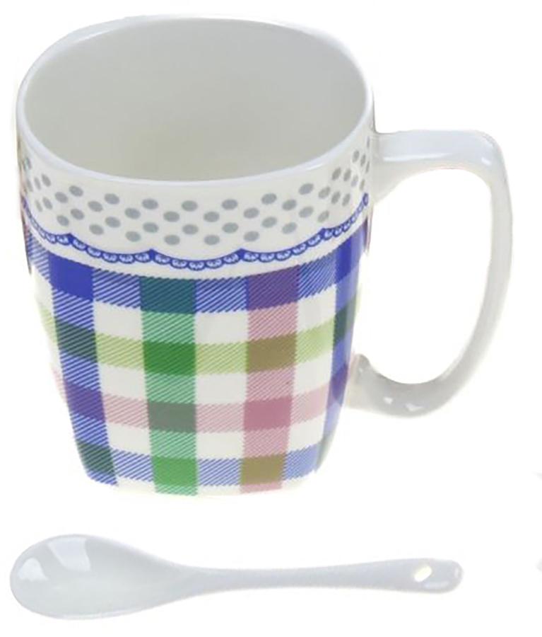 Кружка Доляна Клетка, с ложкой, цвет: синий, зеленый, розовый, 300 мл кружка доляна радуга цвет желтый белый 300 мл