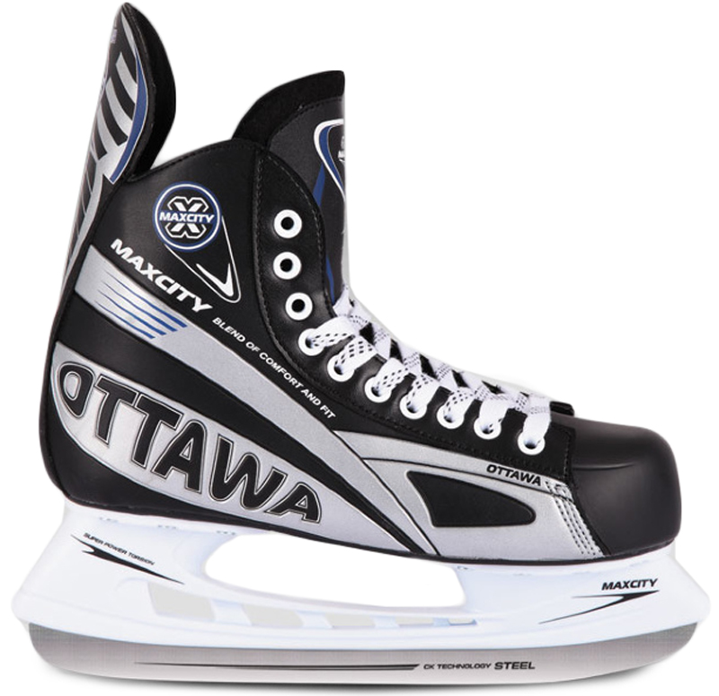 Коньки хоккейные мужские СК MaxСity Ottawa, цвет: черный. Размер 42OTTAWA_черный_42Хоккейные коньки MaxСity Ottawa - это модель хоккейных коньков, которой с успехом пользуются как продвинутые спортсмены, так и начинающие любители. Верх модели выполнен из искусственной кожи. Конструкция ботинка соответствует всем современным требованиям и стандартам. Она имеет достаточно жесткий каркас и хорошо держит ногу. Высококачественные материалы прекрасно отводят влагу и излишки тепла, создавая комфортные условия. Лезвие выполнено из нержавеющей стали. Шнуровка надежно зафиксирует модель на ноге. Коньки обеспечивают прекрасную защиту от ударов шайбы и столкновений.