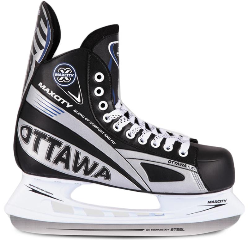Коньки хоккейные мужские СК MaxСity Ottawa, цвет: черный. Размер 43OTTAWA_черный_43Хоккейные коньки MaxСity Ottawa - это модель хоккейных коньков, которой с успехом пользуются как продвинутые спортсмены, так и начинающие любители. Верх модели выполнен из искусственной кожи. Конструкция ботинка соответствует всем современным требованиям и стандартам. Она имеет достаточно жесткий каркас и хорошо держит ногу. Высококачественные материалы прекрасно отводят влагу и излишки тепла, создавая комфортные условия. Лезвие выполнено из нержавеющей стали. Шнуровка надежно зафиксирует модель на ноге. Коньки обеспечивают прекрасную защиту от ударов шайбы и столкновений.