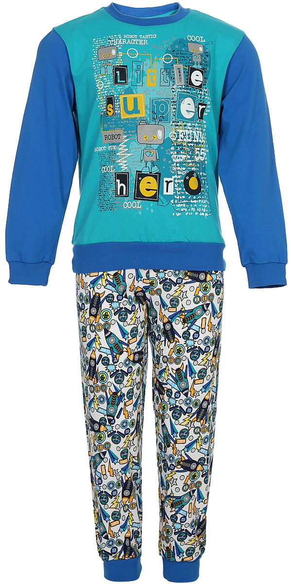 Пижама для мальчика Melado Космос, цвет: синий, бирюзовый. MK2641/01. Размер 116MK2641/01Удобная пижама для мальчика от Melado, состоящая из свитшота и брюк, изготовлена из натурального хлопка. Свитшот с длинными рукавами и круглым вырезом горловины спереди оформлен ярким принтом. Принтованные брюки с эластичной резинкой на талии. Манжеты рукавов и брючин, низ свитшота дополнены трикотажными резинками.