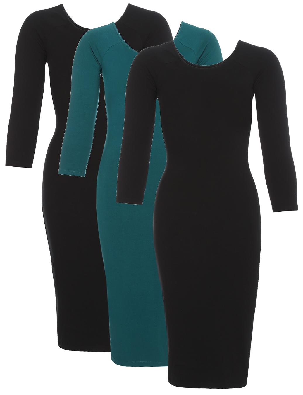 Платье oodji Ultra, цвет: зеленый, черный, 3 шт. 14017001T3/47420/19EBN. Размер XS (42)14017001T3/47420/19EBNСтильное платье oodji изготовлено из качественного эластичного хлопка. Облегающая модель с горловиной-лодочкой и рукавами 3/4. В наборе 3 платья.
