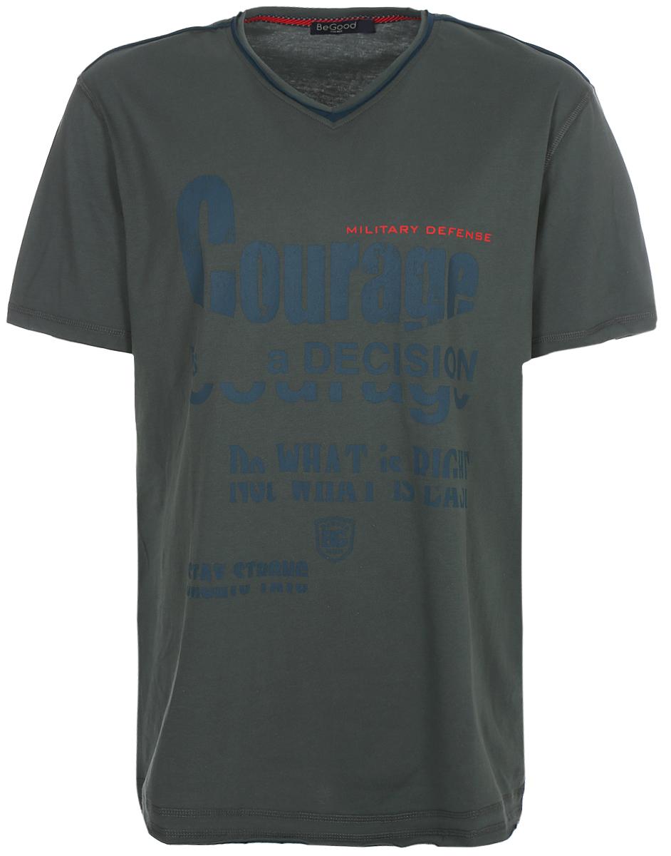 Футболка мужская BeGood, цвет: хаки. SS17-BGUZ-999. Размер 56 футболка мужская begood classic цвет бордовый бежевый bguz 623 размер 60
