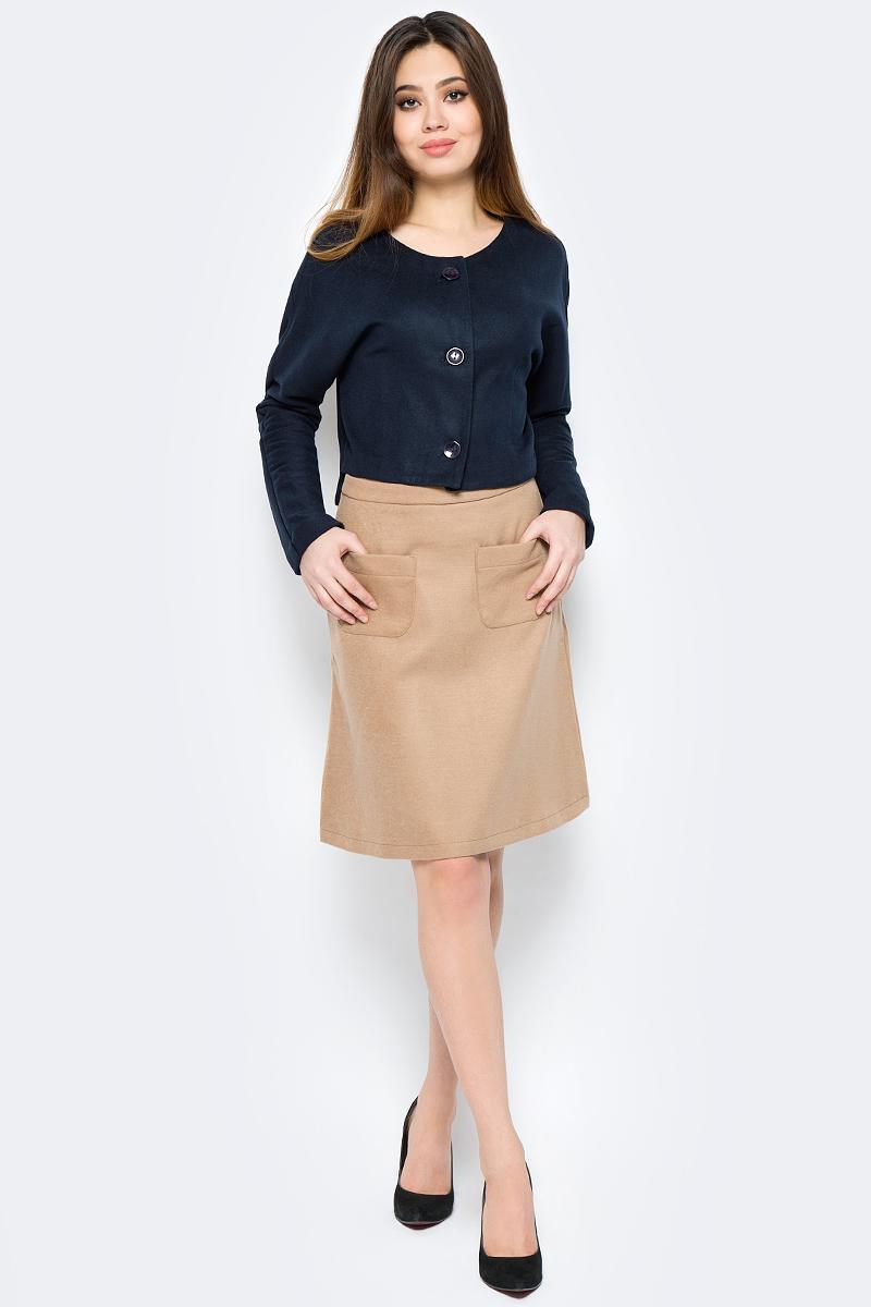 Жакет женский La Via Estelar, цвет: синий. 54008-1. Размер 4654008-1Стильный женский жакет, выполненный из кашемира, отлично дополнит ваш образ. Модель с цельнокроеными рукавами спереди застегивается на пуговицы.