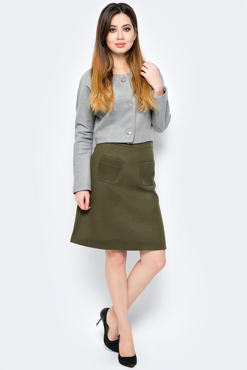 Юбка La Via Estelar, цвет: хаки. 90502-3. Размер 4490502-3Стильная юбка, выполненная из кашемира, отлично дополнит ваш образ. Модель миди-длины сзади имеет застежку молнию. Спереди юбка дополнена двумя накладными карманами.