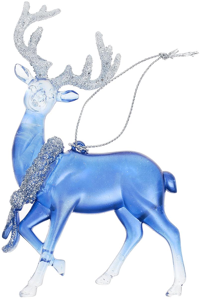 Украшение для интерьера новогоднее Erich Krause Северный олень, 12,5 см40336Рождественский олень выполнен в лазурном цвете и декорирован блестками. Фигурки животных всегда пользуются большой популярностью, и спрос на них является стабильно высоким. Изделие оснащено веревочкой для подвешивания.