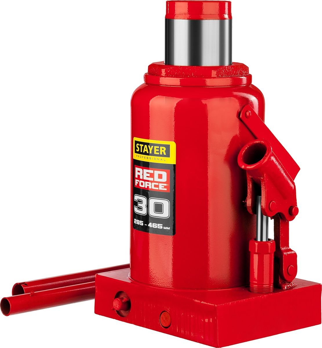 Домкрат Stayer Red Force, гидравлический бутылочный, 30 т, высота подъема 28,5-46,5 см43160-30_z01Гидравлический бутылочный домкрат Stayer Red Force используется при проведении ремонтно-строительных работ. Часто используется для обслуживания автомобилей или при работах связанных с ремонтом фундаментов. Компактный. Небольшой вес.Высокая грузоподъемность.