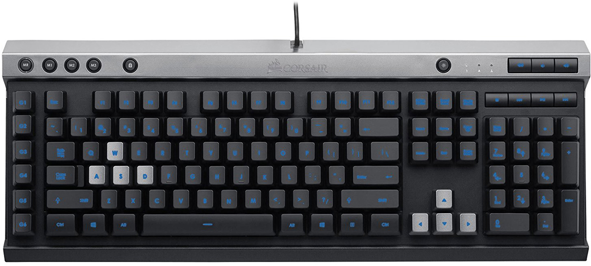 Corsair Gaming Raptor K40 игровая клавиатураCH-9000223-RUДля быстрого и точного игрового процесса USB-клавиатура Corsair Raptor K40 оснащена подсветкой для каждой клавиши с возможностью выбора цвета подсветки, программируемыми G-клавишами со встроенной памятью, элементами управления мультимедиа, 100-процентной защитой от фиктивных нажатий и функцией распознавания одновременно нажатых клавиш. Регулируемая подсветка позволяет выбирать цвет для соответствия системе или стилю, а шесть специальных программируемых G-клавиш позволяют быстро получить доступ к избранным макросам, предварительным настройкам и комбинациям клавиш.Благодаря защите от фиктивных нажатий и функции распознавания одновременно нажатых клавиш на порту USB каждое нажатие клавиши точно преобразуется в игровой процесс — даже при одновременном нажатии нескольких клавиш. Легкодоступные элементы управления мультимедиа позволяют воспроизводить, приостанавливать воспроизведение, пропускать дорожки и регулировать громкость непосредственно на клавиатуре. Выберите любой из миллионов цветов светодиодной подсветки, соответствующий системе или вашему настроению.Защита от фиктивных нажатий и функции распознавания одновременно нажатых клавиш на порту USB. Каждое нажатие клавиши правильно интерпретируется во время игры — даже при одновременном нажатии нескольких клавиш.6 специальных программируемых G-клавиш. Доступ к нужным макросам, предварительным установкам и комбинациям клавиш даже во время самых активных действий.Возможность сохранения настроек и профилей в памяти клавиатуры, что позволяет использовать их независимо от программного обеспечения и на других ПК.Легкодоступные элементы управления мультимедиа. Воспроизведение, останов, пауза, пропуск дорожек и регулировка звука непосредственно на клавиатуре.Клавиши с резиновым покрытиемШесть специальных программируемых клавиш для макросов36 КБ встроенной памятиСемь легкодоступных мультимедийных клавиш: Останов, Назад, Воспроизведение/Пауза, Далее, Отключение звука, Уве