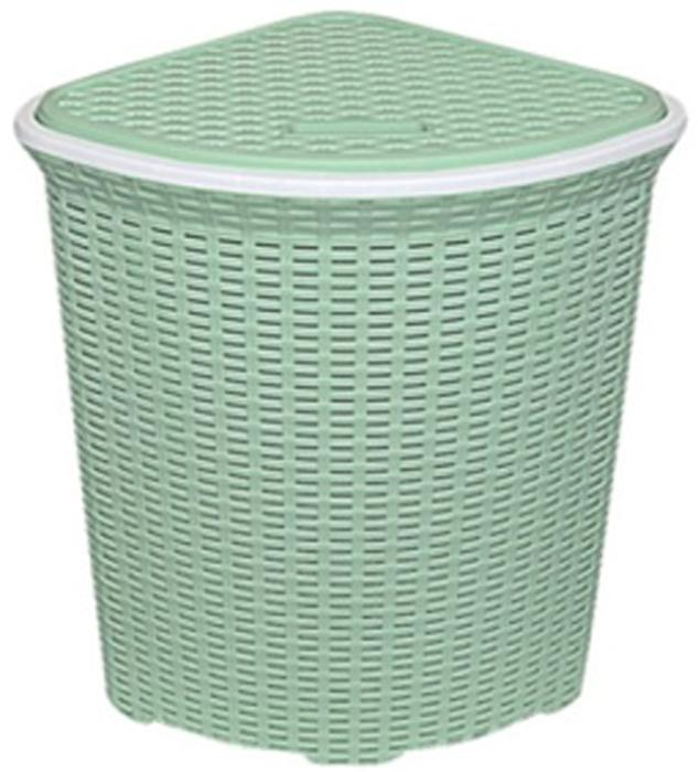 Корзина для белья Violet, с крышкой, угловая, цвет: зеленый, 60 л2350/18Вместительная корзина для белья Violet изготовлена из прочного цветного пластика. Она отлично подойдет для хранения белья перед стиркой. Специальные отверстия на стенках создают идеальные условия для проветривания. Изделие оснащено крышкой и двумя ручками для переноски. Такая корзина для белья прекрасно впишется в интерьер ванной комнаты.
