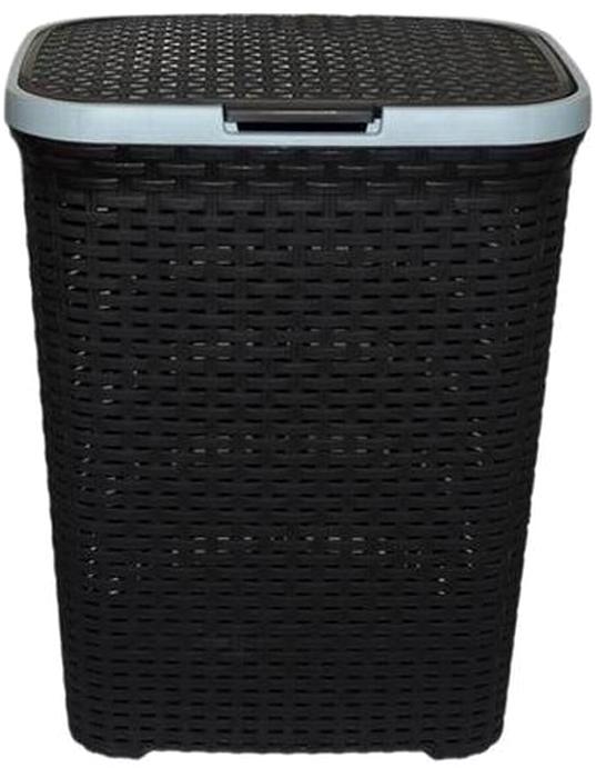 Корзина для белья Violet, с крышкой, цвет: черный, 40 л1840/7Вместительная корзина для белья Violet изготовлена из прочного цветного пластика. Она отлично подойдет для хранения белья перед стиркой. Специальные отверстия на стенках создают идеальные условия для проветривания. Изделие оснащено крышкой и двумя ручками для переноски. Такая корзина для белья прекрасно впишется в интерьер ванной комнаты.