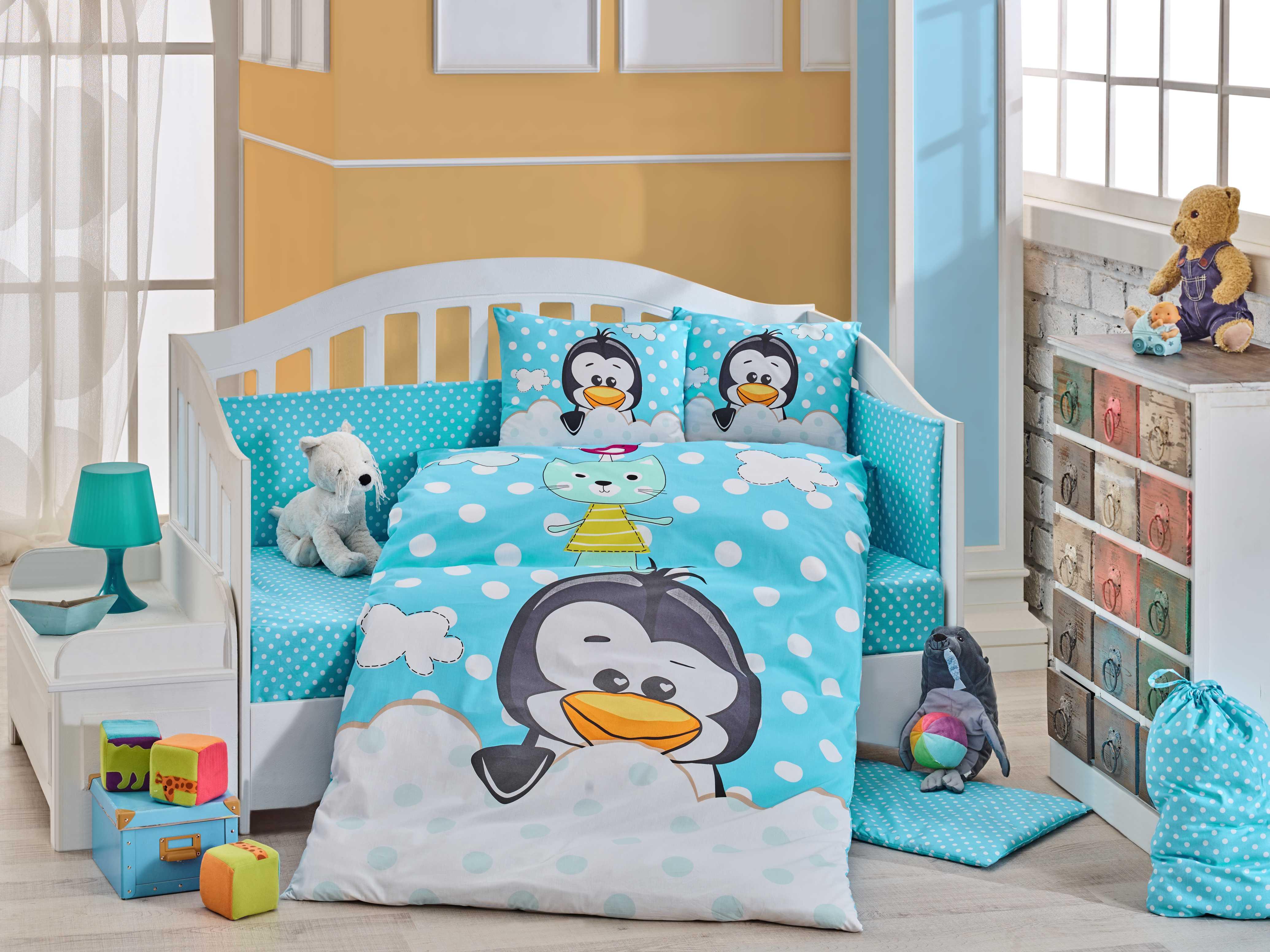 Комплект детского постельного белья Hobby Home Collection Penguin, наволочки 40x60, цвет: синий комплект постельного белья michelle home textiles kdbb