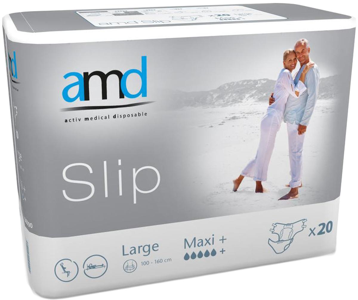 AMD Подгузники для взрослых Slip L Maxi+ 20 шт840170Подгузники AMD Slip Large Maxi+ - это подгузники для взрослых с самыми тяжелыми формами недержания. Максимально комфортный и экономичный уход за лежачими пациентами – без мацераций и раздражений кожи. Самые современные материалы и технологии. Не имеют аналогов по скорости и объемам впитывания. Производятся во Франции. Популярны во Франции, Германии, Великобритании, Австралии. Впитываемость: более 4200 мл. Размер: №3 (L) 100-160 см. Упаковка: 20 шт. Маркировка - серая.