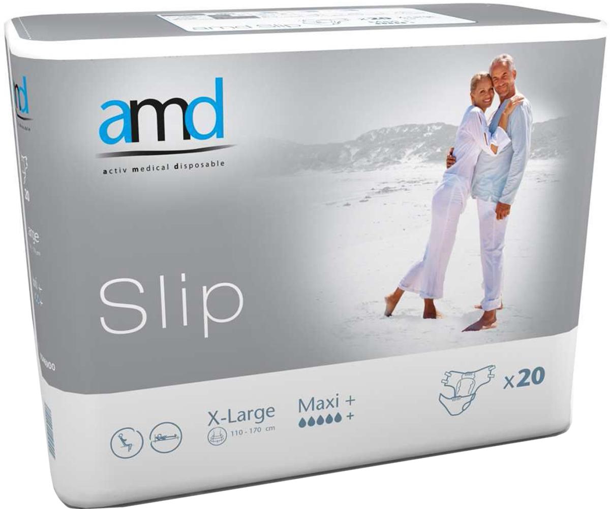 AMD Подгузники для взрослых Slip XL Maxi+ 20 шт11046000Подгузники AMD Slip X-Large Maxi+ - это подгузники для взрослых с самыми тяжелыми формами недержания. Максимально комфортный и экономичный уход за лежачими пациентами – без мацераций и раздражений кожи. Самые современные материалы и технологии. Не имеют аналогов по скорости и объемам впитывания. Производятся во Франции. Популярны во Франции, Германии, Великобритании, Австралии. Впитываемость: более 4500 мл. Размер: №4 (XL) 110-170 см. Упаковка: 20 шт. Маркировка - серая.