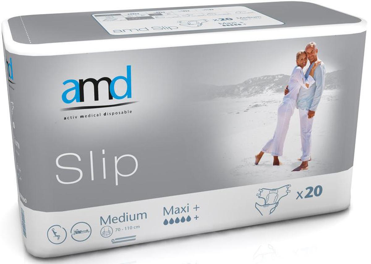 AMD Подгузники для взрослых Slip M Maxi+ 20 шт11026100Подгузники AMD Slip Medium Maxi+ - это подгузники для взрослых с самыми тяжелыми формами недержания. Максимально комфортный и экономичный уход за лежачими пациентами – без мацераций и раздражений кожи. Самые современные материалы и технологии. Не имеют аналогов по скорости и объемам впитывания. Производятся во Франции. Популярны во Франции, Германии, Великобритании, Австралии.Впитываемость: более 3600 мл. Размер: №2 (М) 70-110 см. Упаковка: 20 шт. Маркировка - серая.