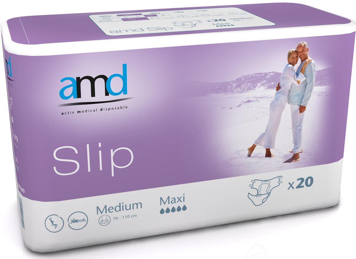 AMD Подгузники для взрослых Slip M Maxi 20 шт11025100Подгузники AMD Slip Medium Maxi - это подгузники для взрослых с тяжелыми формами недержания. Максимально комфортный и экономичный уход за лежачими пациентами – без мацераций и раздражений кожи. Самые современные материалы и технологии. Не имеют аналогов по скорости и объемам впитывания. Производятся во Франции. Популярны во Франции, Германии, Великобритании, Австралии.Впитываемость: более 3400 мл. Размер: №2 (M) 70-110 см. Упаковка: 20 шт. Маркировка - фиолетовая.