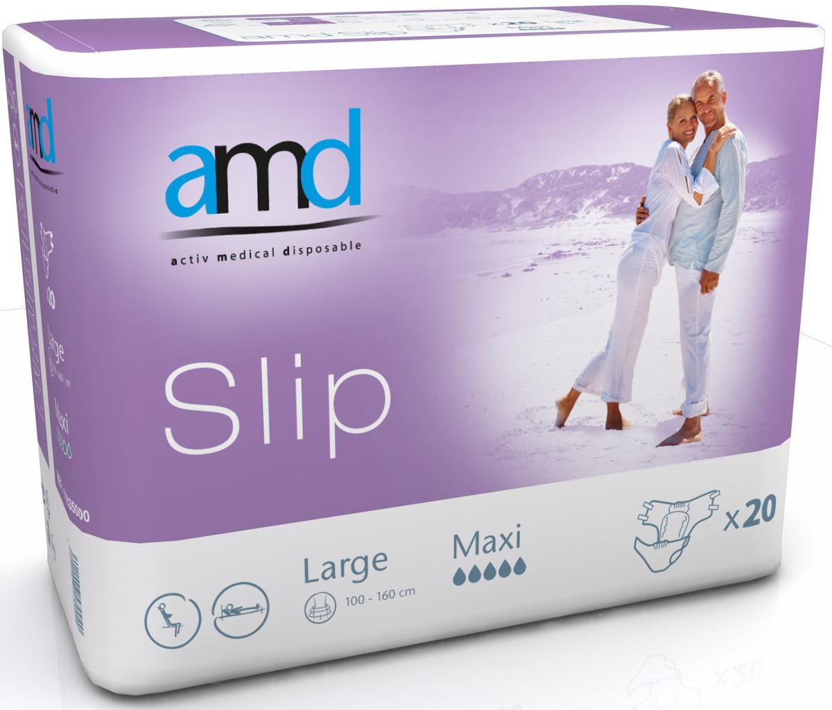 AMD Подгузники для взрослых Slip L Maxi 20 шт11035100Подгузники AMD Slip Large Maxi- это подгузники для взрослых с тяжелыми формами недержания. Максимально комфортный и экономичный уход за лежачими пациентами – без мацераций и раздражений кожи. Самые современные материалы и технологии. Не имеют аналогов по скорости и объемам впитывания. Производятся во Франции. Популярны во Франции, Германии, Великобритании, Австралии. Впитываемость: более 3850 мл. Размер: №3 (L) 100-160 см. Упаковка: 20 шт. Маркировка - фиолетовая.
