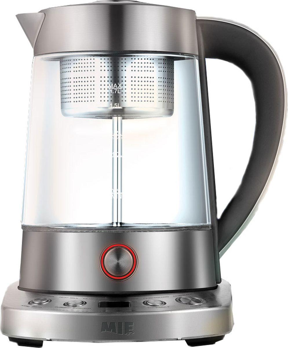 MIE Smart Kettle, Silver Metallic электрический чайник380772Умный чайник MIE Smart Kettle – это настоящая находка для любителей чая и чайных церемоний. Прибор способен поддерживать нужную температуру воды в течение нескольких часов. В MIE Smart Kettle можно заваривать чай, а также выбирать оптимальное для заваривания чая время и температуру. Прибор имеет несколько режимов заваривания чая, то есть вы сможете выбирать необходимую крепость напитка. MIE Smart Kettle состоит из стеклянного кувшина (куда наливается вода), удобной ручки, крышки, подставки для чайника с панелью управления. Внутрь кувшина помещается контейнер-ситечко (для заваривания чая), которое надевается на помповый поршень (он служит для подачи пара в ситечко). В комплекте с чайником идет ложечка-черпак для заварки.MIE Smart Kettle – это компактный стильный чайник стального цвета, который впишется в дизайн любой кухни.