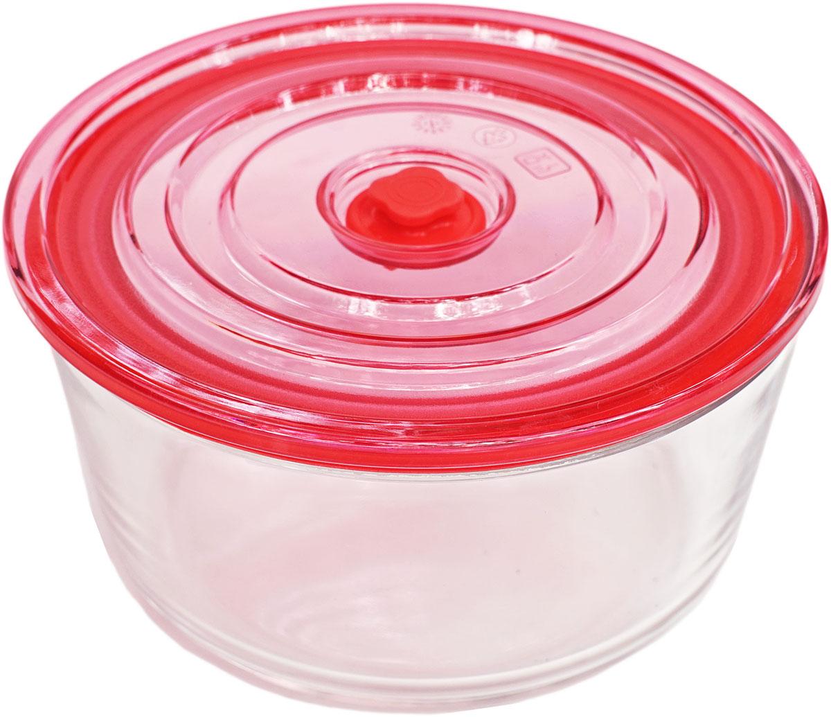 Контейнер пищевой Eley, круглый, цвет: красный, 850 млELV5802RКруглый пищевой контейнер Eley выполнен из жаропрочного боросиликатного стекла. Крышка Air Lock изготовлена из полипропилена и оснащена силиконовым уплотнителем, для обеспечения полной герметичности внутри контейнера.Он подходит для использования в микроволновой печи и духовке (без крышки). Подходит для использования в холодильнике и морозильной камере. Подходит для использования в посудомоечной машине.Контейнер можно использовать как форму для запекания (до +400 С).
