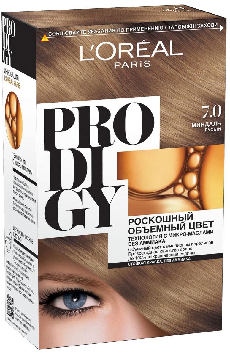LOreal Paris Краска для волос Prodigy без аммиака, оттенок 7.0, МиндальA0692928Краска для волос серии «Prodigy» совершила революционный прорыв в окрашивании волос. Новейшая технология состоит в использовании особых микромасел, которые, проникая в самый центр волоса, наполняют его насыщенным, совершенным свой чистотой цветом. Объемный цвет, полный переливов разнообразных оттенков достигается идеальной гармонией красящих пигментов. Кроме создания поразительного цвета микромасла также разглаживают поверхность волос, придавая тем самым ослепительный блеск. Равномерное окрашивание волос по всей длине, эффективное закрашивание седины и сохранение здоровой структуры волос — вот результат действия краски «Prodigy» без аммиака. В состав упаковки входит: красящий крем (60 г); проявляющая эмульсия (60 г); уход-усилитель блеска (60 мл);пара перчаток; инструкция по применению.1. Доносит цветовые пигменты в самый центр волоса 2. Кремовая текстура без запаха аммиака 2. Стойкая краска без аммиака 3. До 100% закрашивания седины