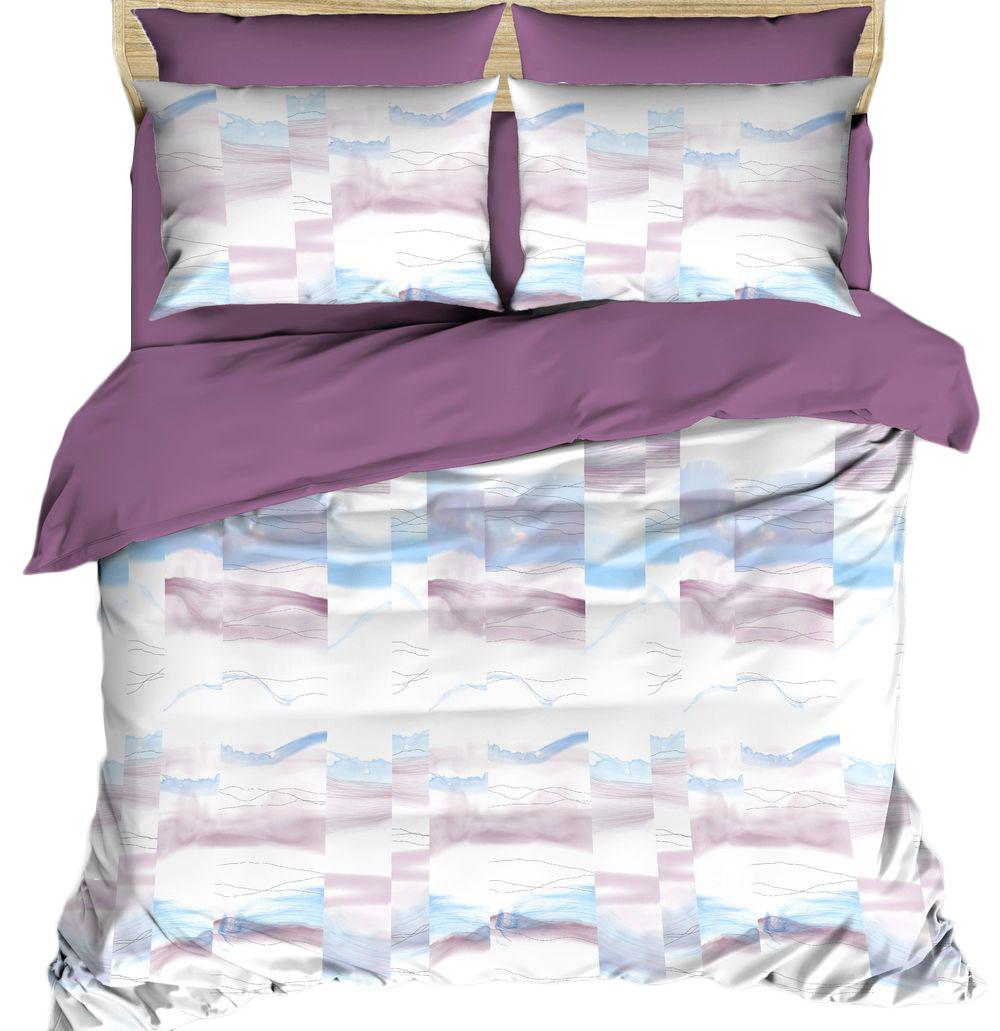 Комплект белья Василиса Будто случайно, 2-спальный, цвет: фиолетовый, белый, голубой, наволочки 70x70, 50x70. 163539 комплекты белья