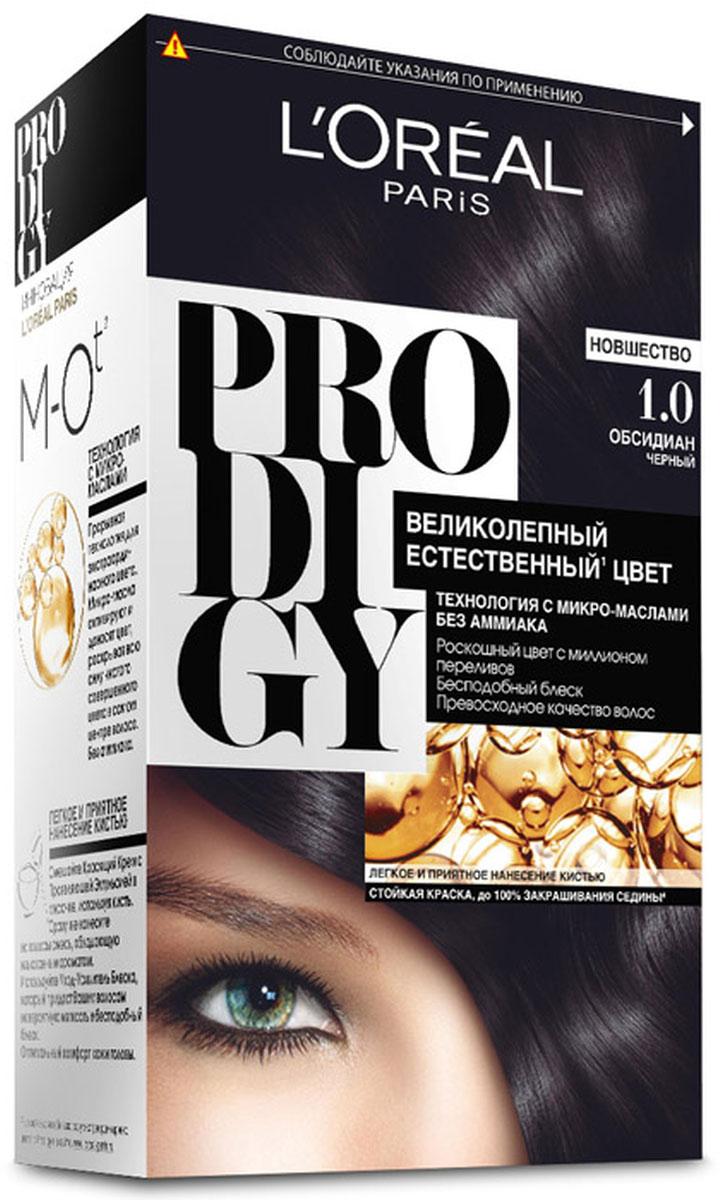 LOreal Paris Краска для волос Prodigy без аммиака, оттенок 1.0, ОбсидианC4532710Краска для волос серии «Prodigy» совершила революционный прорыв в окрашивании волос. Новейшая технология состоит в использовании особых микромасел, которые, проникая в самый центр волоса, наполняют его насыщенным, совершенным свой чистотой цветом. Объемный цвет, полный переливов разнообразных оттенков достигается идеальной гармонией красящих пигментов. Кроме создания поразительного цвета микромасла также разглаживают поверхность волос, придавая тем самым ослепительный блеск. Равномерное окрашивание волос по всей длине, эффективное закрашивание седины и сохранение здоровой структуры волос — вот результат действия краски «Prodigy» без аммиака. В состав упаковки входит: красящий крем (60 г); проявляющая эмульсия (60 г); уход-усилитель блеска (60 мл);пара перчаток; инструкция по применению.1. Доносит цветовые пигменты в самый центр волоса 2. Кремовая текстура без запаха аммиака 2. Стойкая краска без аммиака 3. До 100% закрашивания седины