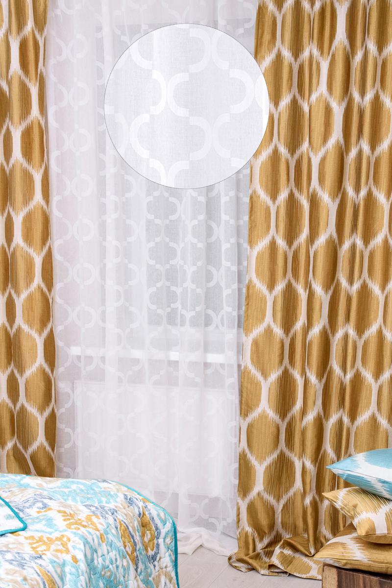 """Тюль """"Wess"""" изготовлен из сетчатой ткани с жаккардовым рисунком.   Современная интерпретация марокканского четырехлистника - одного из самых популярных  рисунков - позволяет коллекции дружить с предметами обстановки в современном стиле и  наполняет спальню восточным колоритом, создавая теплый и живой интерьер.  Полиэстер - вид ткани, состоящий из полиэфирных волокон. Ткани из полиэстера  легкие, прочные и износостойкие. Такие изделия не требуют специального  ухода, не пылятся и почти не мнутся. Крепление к карнизу осуществляется при помощи вшитой шторной ленты.  Ширина боковой кромки - 2 см.  Ширина нижней кромки - 5 см."""