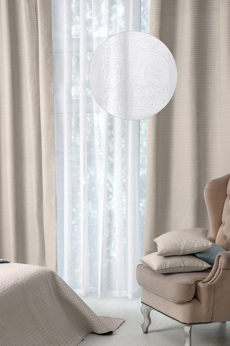 Тюль Wess Serenity, на ленте, цвет: белый, 300 х 280 смB11-05Тюль Wess изготовлен из жаккардовой ткани (100% полиэстер). Выдержанные в классическом стиле рисунки тюля и штор делают интерьер спальнисамодостаточным и создают атмосферу комфорта.Полиэстер - вид ткани, состоящий из полиэфирных волокон. Ткани из полиэстералегкие, прочные и износостойкие. Такие изделия не требуют специальногоухода, не пылятся и почти не мнутся. Крепление к карнизу осуществляется при помощи вшитой шторной ленты.Ширина боковой кромки - 2 см.Ширина нижней кромки - 5 см.