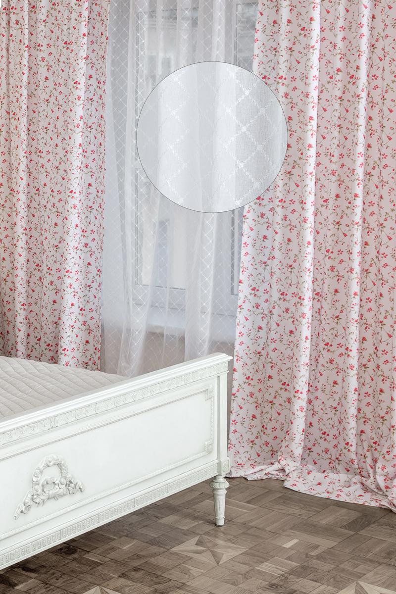 "Тюль Wess ""Romantic"", на ленте, цвет: белый, 300 х 280 см"
