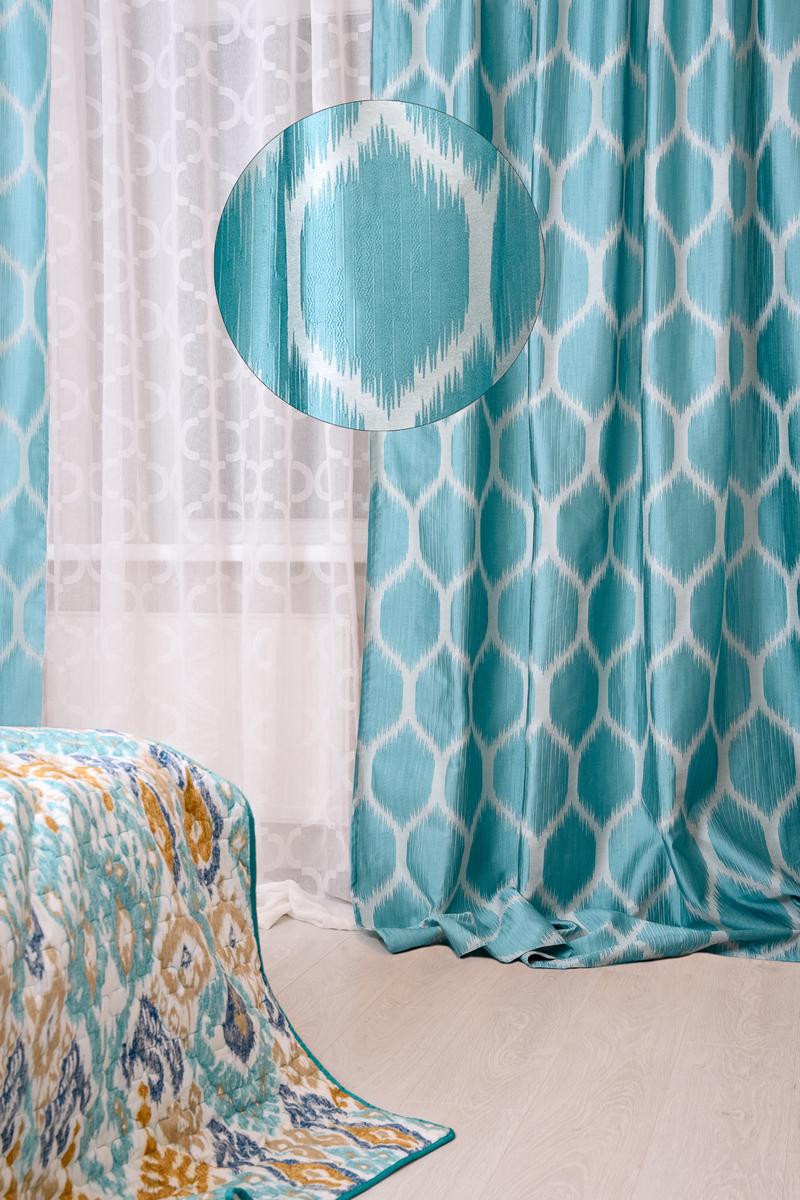 Штора готовая Wess Illusion, на ленте, цвет: синий, 200 х 280 смB15-01Изящная штора Wess выполнена из жаккардовой ткани (100 % полиэстер). Приятная текстура ицвет привлекут к себе внимание и органично впишутся в интерьер помещения. Насыщенные цветаи рисунки особенно выигрышно выглядят на светлом однотонном фоне. Если вам нравятсяяркость восточного колорита, но вы боитесь сделать спальню излишне пестрой, используйтеоднотонное, но цветное постельное белье.Штора крепится на карниз при помощи ленты,которая поможет красиво и равномерно задрапировать верх.