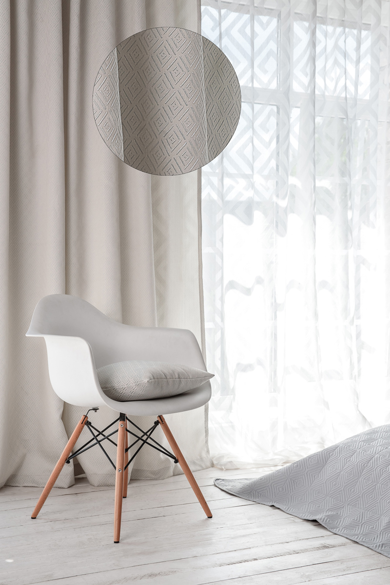 """Изящная штора """"Wess"""" выполнена из плотной жаккардовой ткани. Приятная текстура и цвет  привлекут к себе внимание и органично впишутся в интерьер помещения. Ткани с рельефным  рисунком создают красивые складки. Штора крепится на карниз при помощи ленты, которая  поможет красиво и равномерно задрапировать верх."""