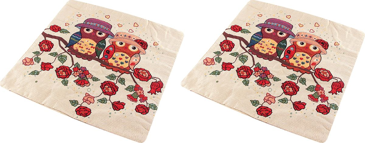 Наволочка декоративная EL Casa Совята в цветах, 43 x 43 см, 2 шт подушка декор 43 43 см совята 1196735