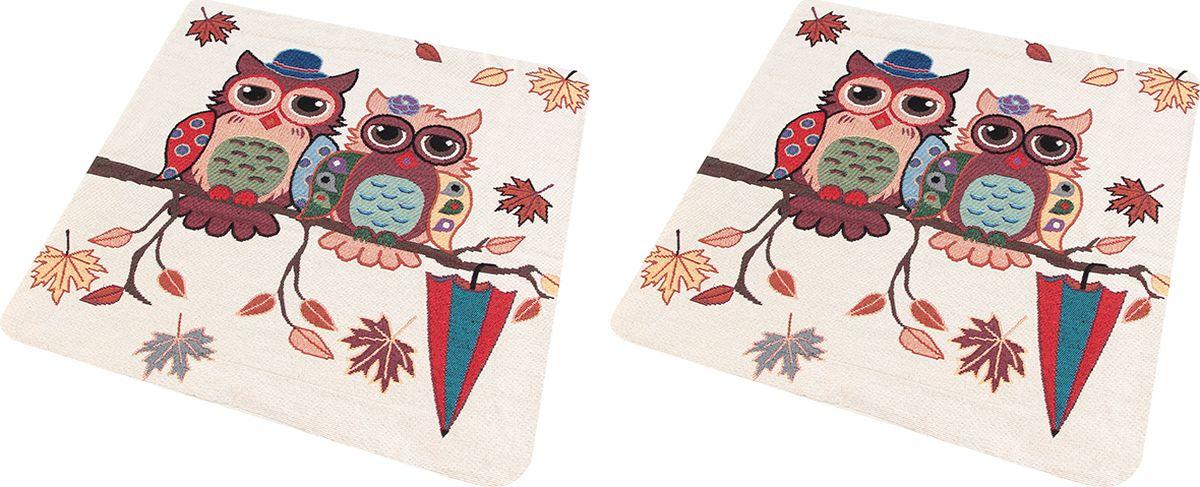 Наволочка декоративная EL Casa Две совы на ветке, 43 x 43 см, 2 шт