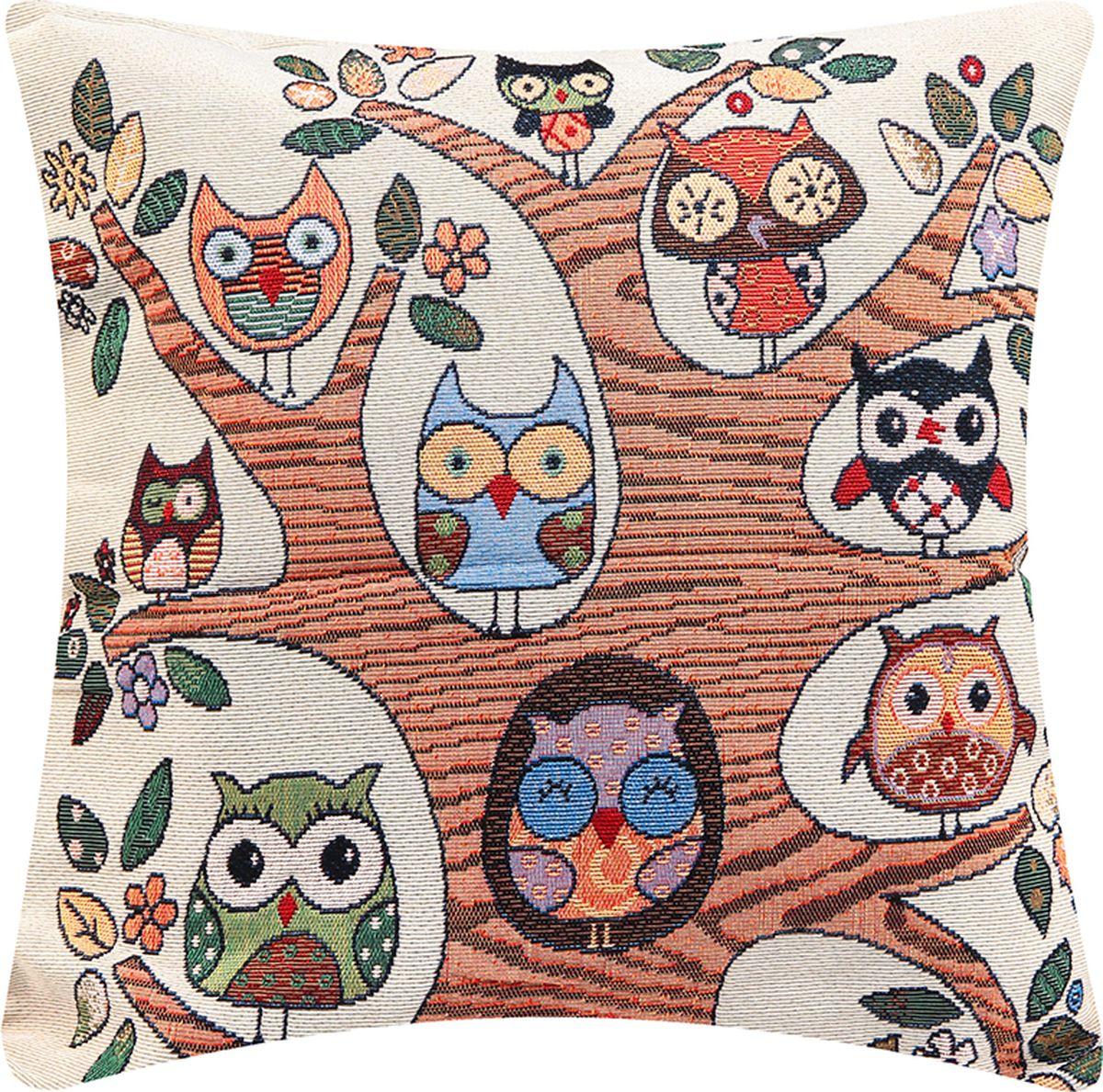Подушка декоративная EL Casa Совы на дереве, 43 x 43 см171534Прекрасный способ оживить интерьер - это добавить в него несколько ярких акцентов. Декоративные подушки помогут вам с этой задачей.Удивите гостей неожиданным преображением вашего дома. Ведь уют и красота складываются из мелочей.