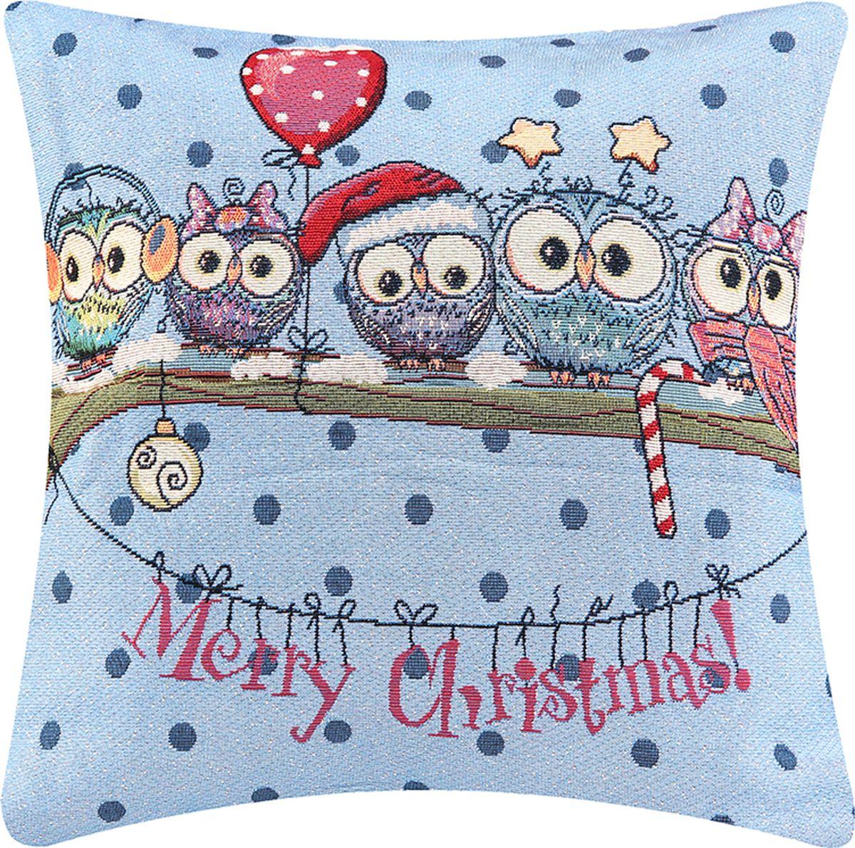Подушка декоративная EL Casa Совы. Новогоднее настроение, 43 x 43 см подушки декоративные el casa подушка декоративная новогодние совы