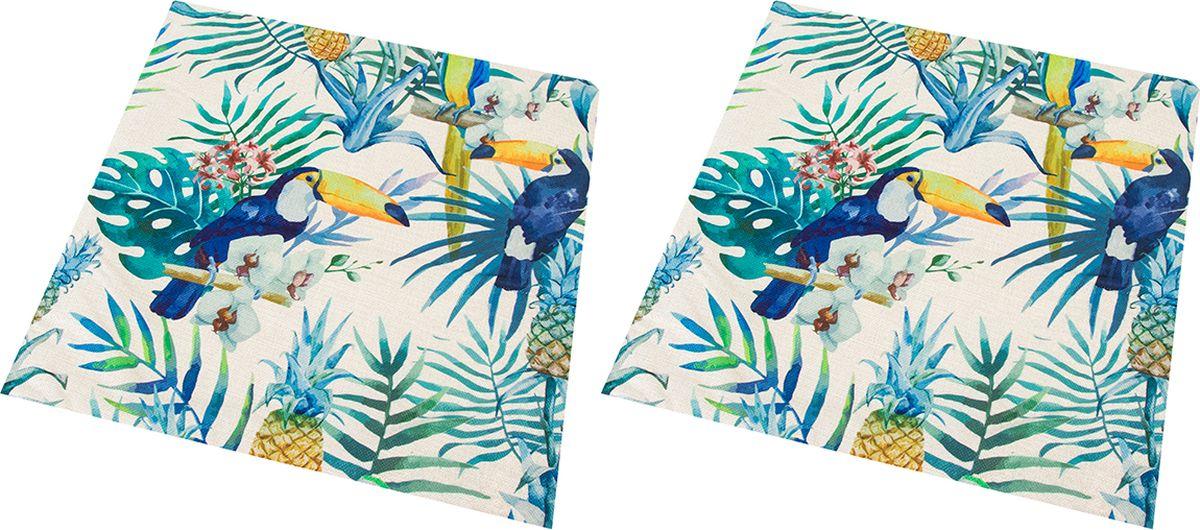 Наволочка декоративная EL Casa Туканы в тропиках, 43 x 43 см, 2 шт171637Декоративная наволочка на подушку. Благодаря своему лаконичному дизайну удачно впишется в интерьер любого дома. Элегантность немаркой окраски и комфорт впечатлят хозяев и их гостей.