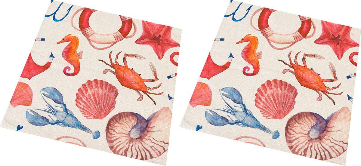 Наволочка декоративная EL Casa Морской бриз, 43 x 43 см, 2 шт wb 33 2 коробка прямоугольная морской бриз