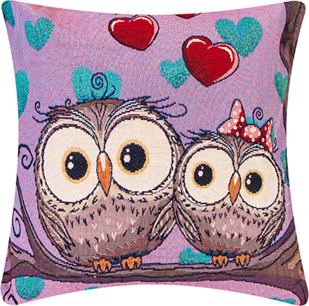 Подушка декоративная EL Casa Влюбленные совы, цвет: розовый, 43 x 43 см. 171683171683Декоративная подушка прекрасно дополнит интерьер спальни или гостиной. Состав наволочки: лен -50%, полиэстер-50%. Она легко снимается, благодаря молнии. Внутри подушки находится мягкий наполнитель.