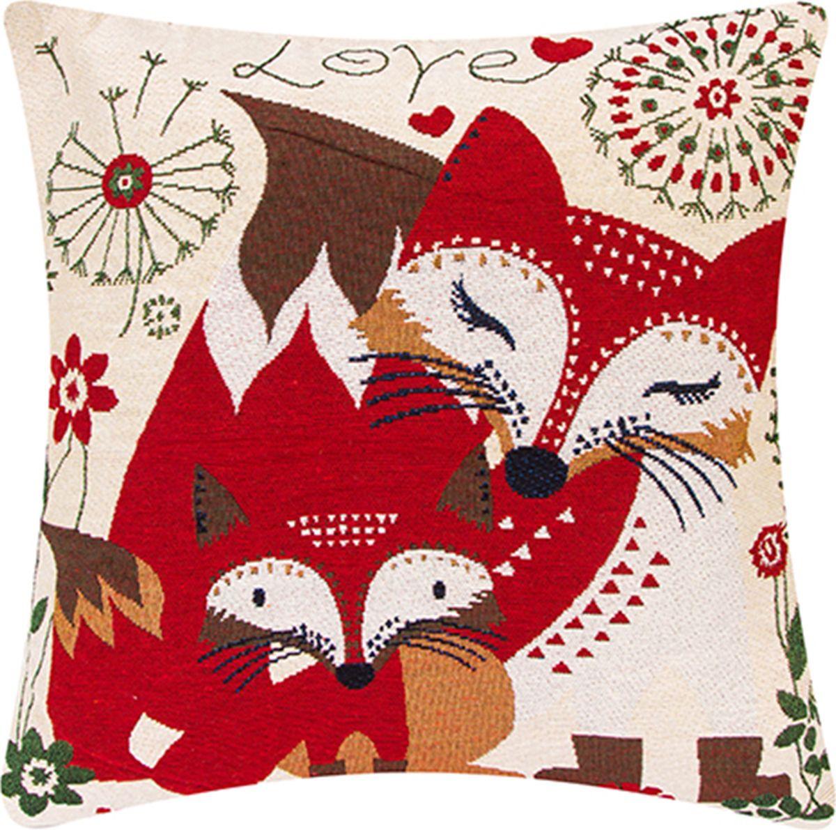 Подушка декоративная EL Casa Лиса с лисенком, цвет: красный, 43 x 43 см. 171693171693Декоративная подушка прекрасно дополнит интерьер спальни или гостиной. Состав наволочки: лен -50%, полиэстер-50%. Она легко снимается, благодаря молнии. Внутри подушки находится мягкий наполнитель.