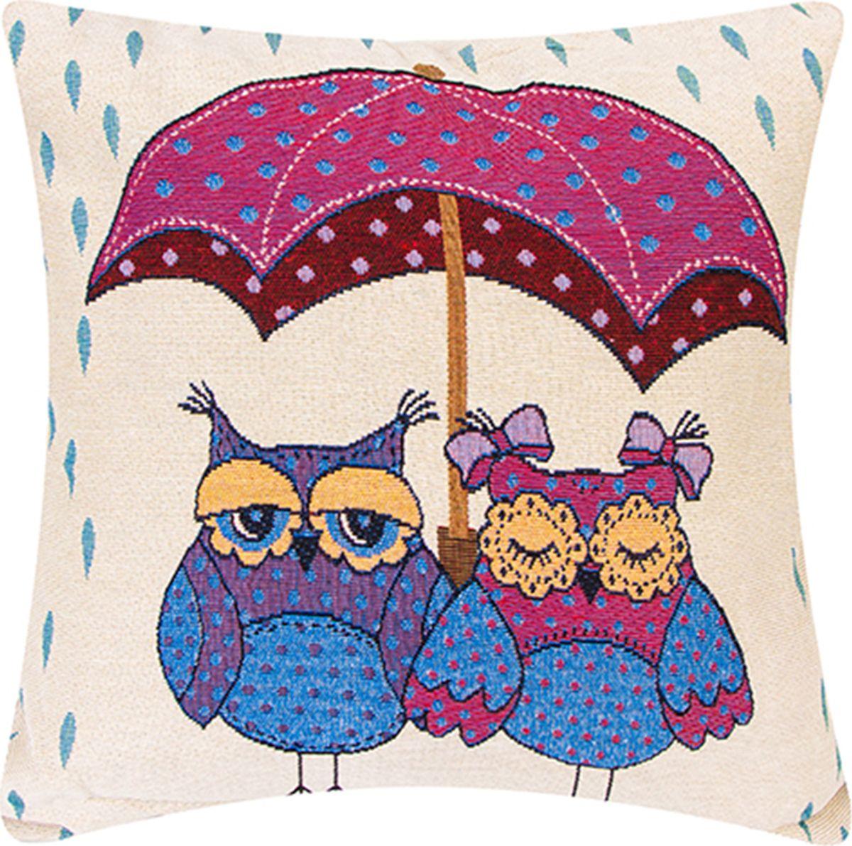 Подушка декоративная EL Casa Совы под зонтом, 43 x 43 см171696Декоративная подушка Совы под зонтом - это прекрасный способ освежить интерьер вашей гостиной или спальни. Наволочка состоит из 50% льна и 50% полиэстера, легко снимается и надежно застегивается благодаря аккуратно вшитой молнии. Внутри наволочки мягкий наполнитель, а саму наволочку можно стирать в стиральной машине. В ассортименте представлено множество цветов и рисунков, один из которых непременно впишется в ваш интерьер и выделится среди других предметов ярким или нежным акцентом. Создайте настроение благодаря небольшим, но важным деталям и порадуйте себя и близких безупречным вкусом и нестандартными решениями.